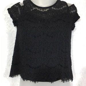 Black lace cold shoulder top shirt blouse medium